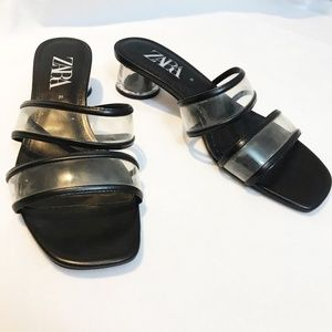 Zara Black and Clear vinyl Slip On Shoes